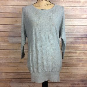 Lauren Conrad Small Gray Pointelle Stitch Sweater